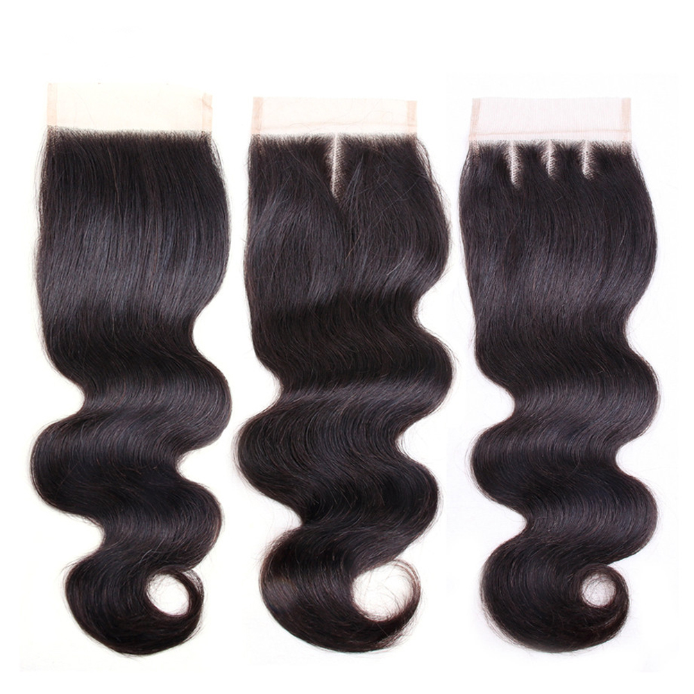 4*4 Peruvian Remy Human Hair Lace Closure Body Wave Human Hair Extension Top Closure Free Middle Three Part Natural Color 8