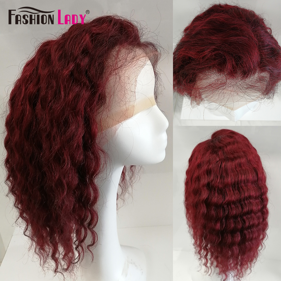 Pre-Colored Dark Red 99J Lace Front Human Hair Wigs Fashion Lady Deep Wave Short Bob Lace Front Wig Brazilian Colored Hair Wigs
