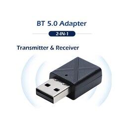 USB BT 5.0 Adapter KN320 3.5mm Wireless Audio Transmitter ReceiverTV Speaker Earphone Mini Car Music 2 In 1 BT Transmit
