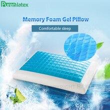 Purenlatex silicone gel almofadas travesseiro de espuma de memória verão gelo refrigeração pescoço gelo legal vértebra cervical ortopédica cura almofada