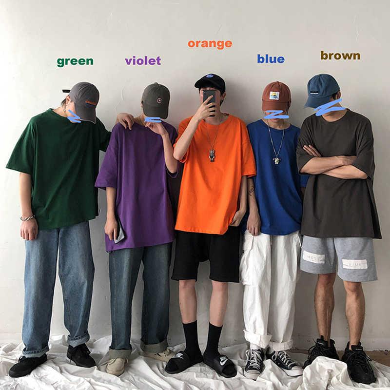 קריא 2020 קיץ חולצות גברים מוצק Streetwear Mens Loose מקרית קצר שרוול חולצות Tees זכר T חולצות גברים