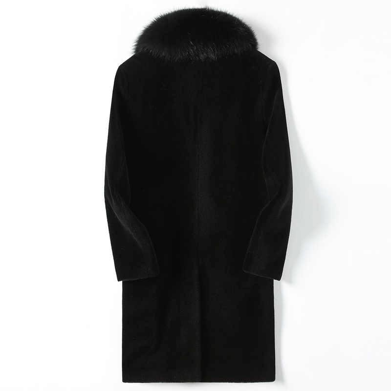 リアルファー男性の冬のジャケット 100% ウールコート本物のキツネの毛皮の襟本革パーカー Hombre KFS18M208 KJ810