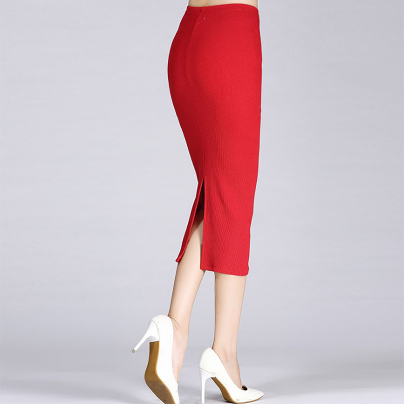 Newly Autumn Winter Women Pencil Skirt High Waist Cotton Solid Color Stretch Elastic Slim Business OL Split Bodycon Skirts CLA88