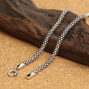 Image 2 - Real Silver Necklace Men Women Thai Silver Corn Necklace Male s925 Sterling Silver Long Chain Retro Pendant Necklace Jewelry