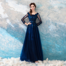 Evening Dresses Long Sleeve Embroidery Floor Length Women Party 2019 Sexy Backless Slim Formal Gowns LX276