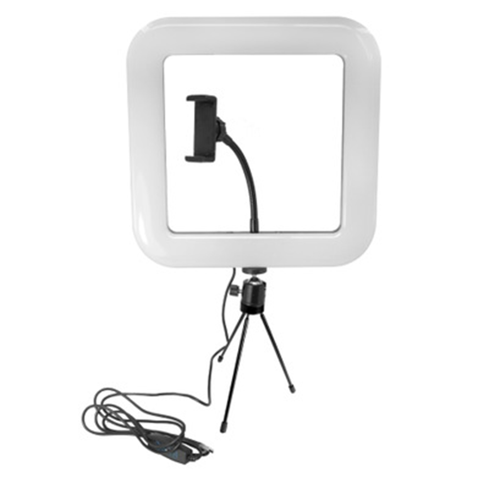 LED Square Light with Tripod Mobile Phone Stand Adjustable USB Charging for Selfie Live JA55