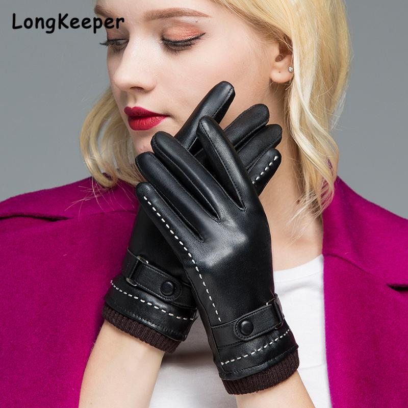 Winter Touch Screen Gloves Women Faux Leather Gloves Black Business Warm Driving Gloves Waterproof and windproof Guantes