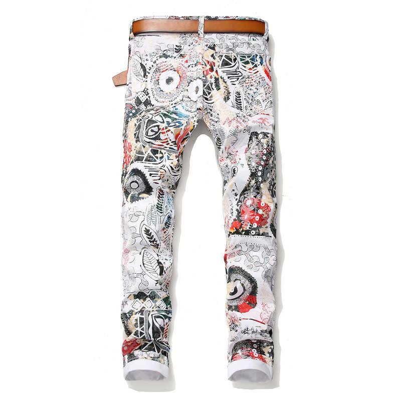 2020 CHOLYL Männer der mode 3D blatt gedruckt weiß jeans Slim fit stretch bleistift hosen