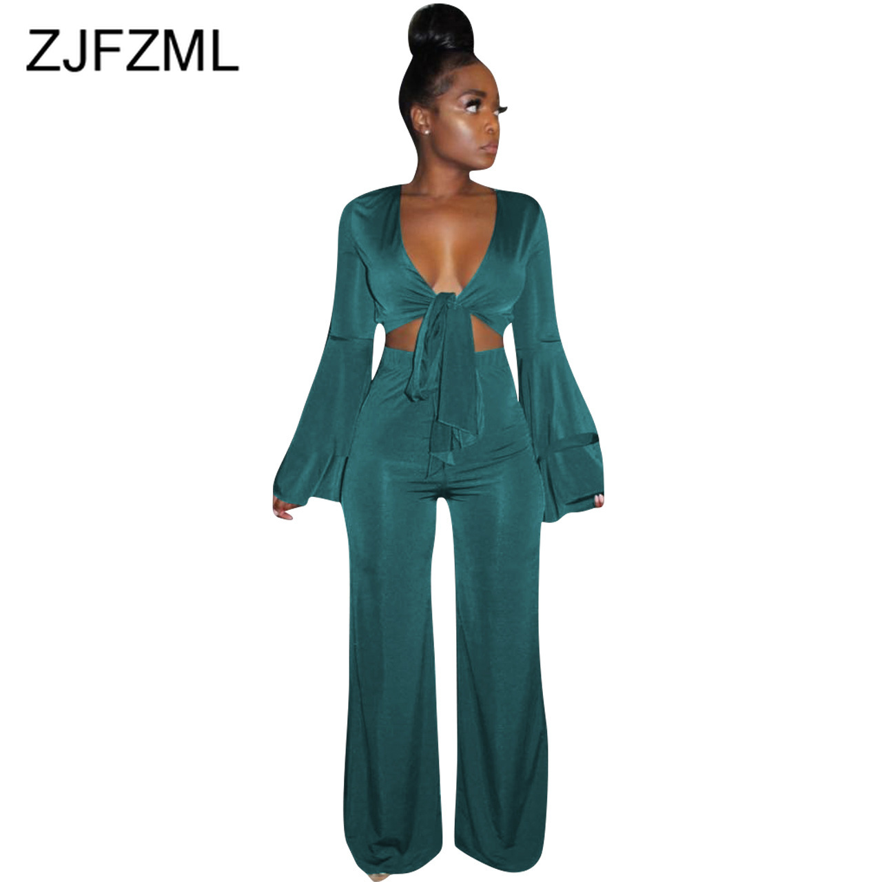 Sexy Two Piece Tracksuit Women Clothes Deep V Neck Flare Sleeve Crop Top+Wide Leg Pants Sweatsuits Vintage 2 Piece Club Outfit