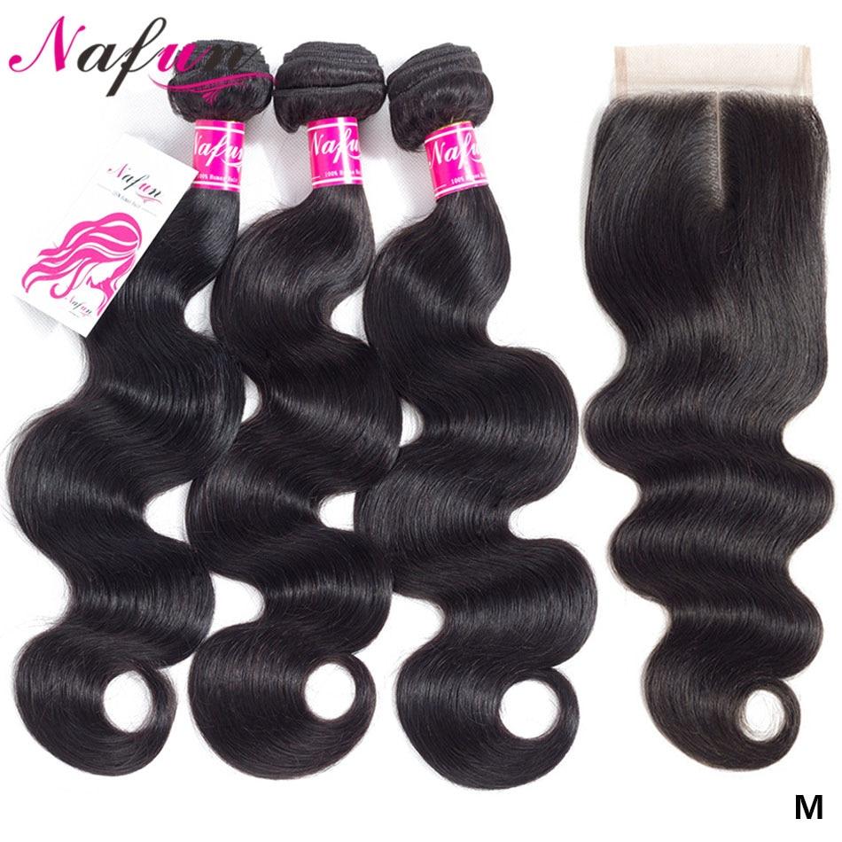 Nafun Body Wave Bundles With Closure Brazilian Hair Weave Bundles With Closure Non-Remy Human Hair 3 Bundles With Closure