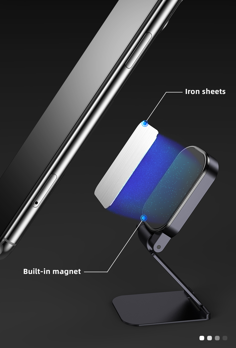 !ACCEZZ Car Magnetic Holder Phone Stand For 11 X Center Console Folding Adjustable Magnet Support Desktop Bracket (3)