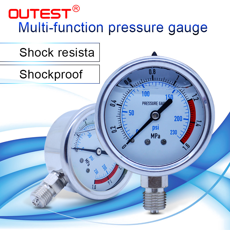 OUTEST 0 60MPa Radial stainless steel manometer pressure gauge Air oil water Hydraulic Pressure gauge Thread G 1/4|Pressure Gauges| |  - title=