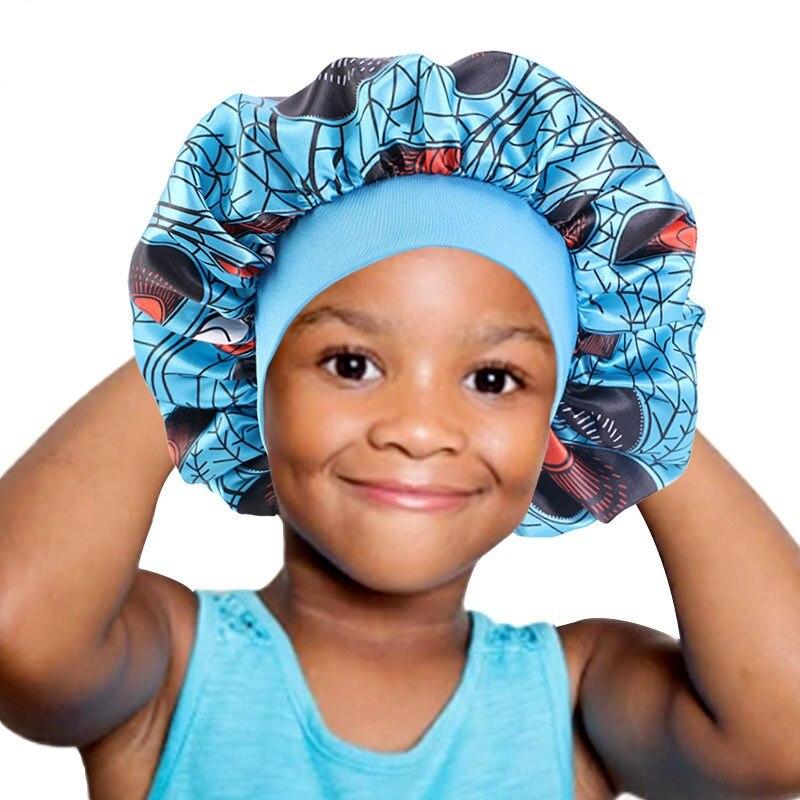 Атласная шляпа для сна, Детские волосы для девочек, забота о капоте, широкий ремешок, шапочки для душа, простая шапка для выпадения волос