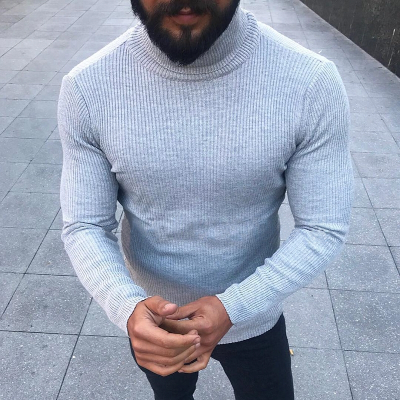 Autumn Slim Fit Warm Sweater Men Fashion Striped Jumpers Plus Size Pullover Tops Winter Turtleneck Casual Outerwear Sweater 2019