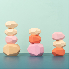 Wooden Colored Stone Children's Jenga Building Block Educational Toy Creative Nordic Style Stacking Game Rainbow Wooden Gift colored stone baby toy wooden jenga building block creative educational toys nordic style stacking game rainbow stone wooden toy