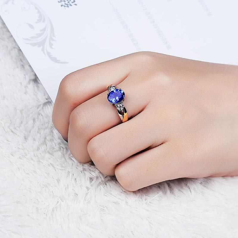 Cellacity clássico 925 de Prata Anéis de Jóias de Luxo Com Safira Oval Gemstone Anel de Prata Para As Mulheres de Zircão Presente de Casamento