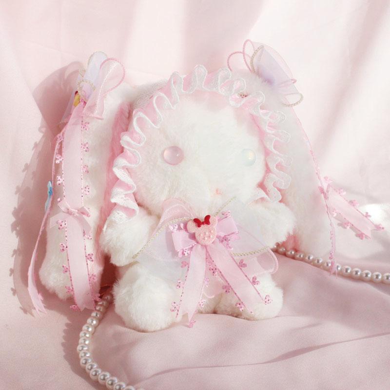 Cute Lolita Girl Loppy Eared Rabbit Plush Hangbag Handmade Shoulder Bag Bow Lace Trim Small Purse Bag Pearl Strap Little Bag|Кошельки для монет|   | АлиЭкспресс