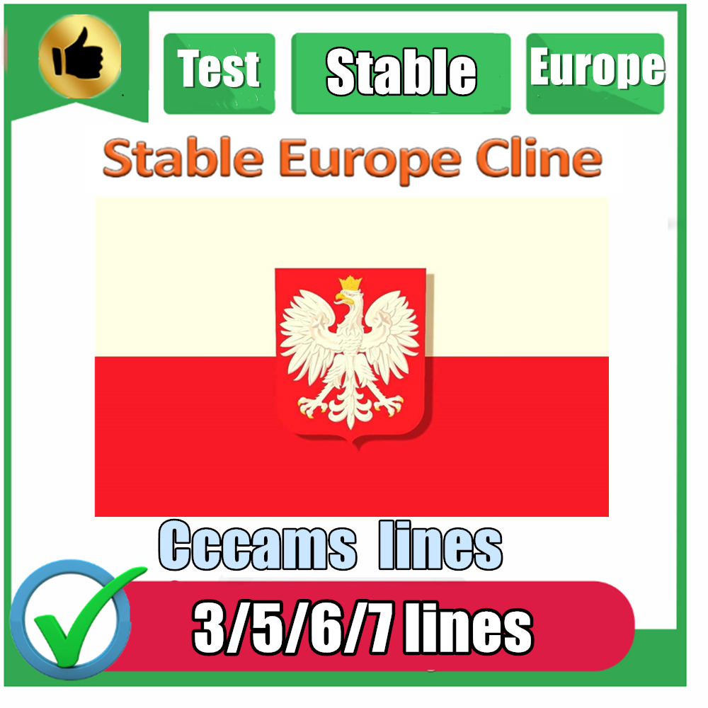 Special For Poland Europe 3/5/7 Lines HD AV Cable For Satellite Receiver Cccam Lines Of 1 Year DVB-S2 Europe Clines For Free Sat