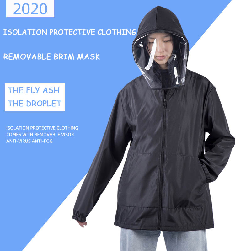Anti Pollution Virus, Bacteria, Washable, Reusable,Rainproof Protective Clothing, Isolation Clothing Jacket Hat Removable Mask