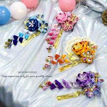 Wholesale Hand Made Beautiful Kimono Hairpin Flower  Headwear Cosplay Accessory Hair Accessories Classical Hairpin colorful classical peacock wooden hairpin