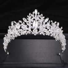 Trendy Wedding Hair Accessories Silver Baroque Rhinestone Crystal Crown Bridal Tiara Princess Party Tiara Jewelry Accessories rhinestone two heart princess tiara