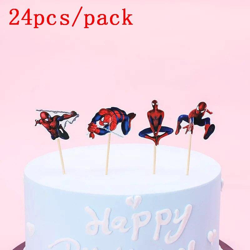 Groovy Big Offer L49Dv 24Pcs Cartoon Superman Spiderman Cake Hat Boy Funny Birthday Cards Online Unhofree Goldxyz