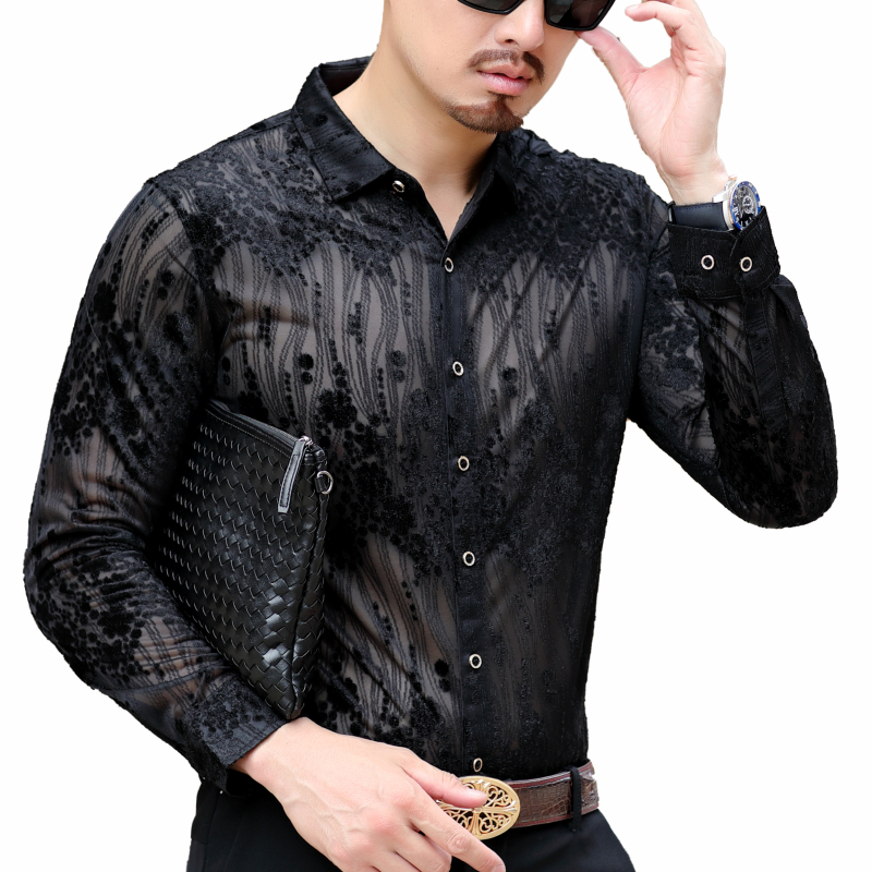 Asain 3xl Autumn Men Blue Print Floral Shirt Long Sleeve Business Office Shirt Mens Button Down Chemise Homme Manche Longue