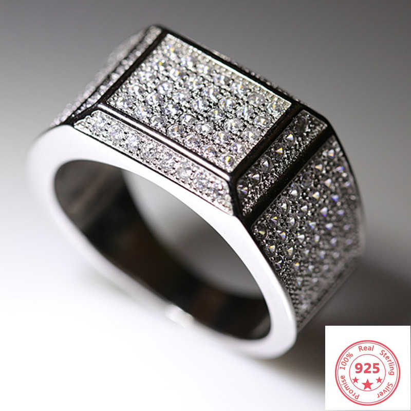 S925 Sliver รอบ VVS1 แหวนเพชรผู้ชายหรูหรา Bizuteria Anillos De Topaz อัญมณี Dainty วงกลมเงิน 925 เครื่องประดับแหวนผู้ชาย