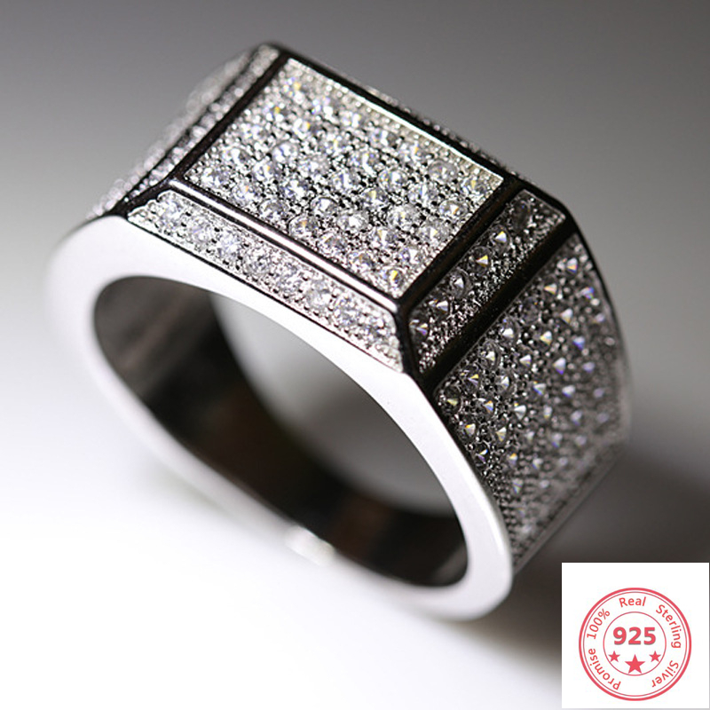 S925 <font><b>Sterling</b></font> <font><b>Silver</b></font> Color 2 carats VVS1 Diamond <font><b>Ring</b></font> <font><b>for</b></font> <font><b>Men</b></font> Bizuteria Anillo Gemstone Dainty Cirle <font><b>Silver</b></font> <font><b>925</b></font> Jewelry <font><b>Ring</b></font> Box image