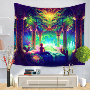 Image 1 - Cartoon Watercolor Painting Cloth Psychedelic Tapestry Wall Hanging Polyester Thin Couch Blanket Art Wall Carpets Yoga Shawl Mat