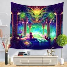 Karikatür suluboya boyama bez Psychedelic goblen duvar asılı Polyester ince kanepe battaniye sanat duvar halıları Yoga şal Mat