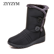 ZYYZYM Women Boots Winter Button Snow Waterproof Cloth Plush Keep Warm For Cotton Shoes Woman Botas Mujer