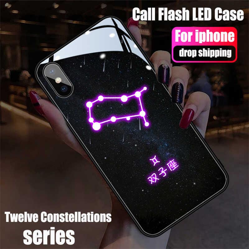 Custodia per cellulare Flash Call per iPhone 12 11 Pro X XS MAX 6S 7 8 Plus XR LED dodici costellazioni cambia colore Cover antiurto