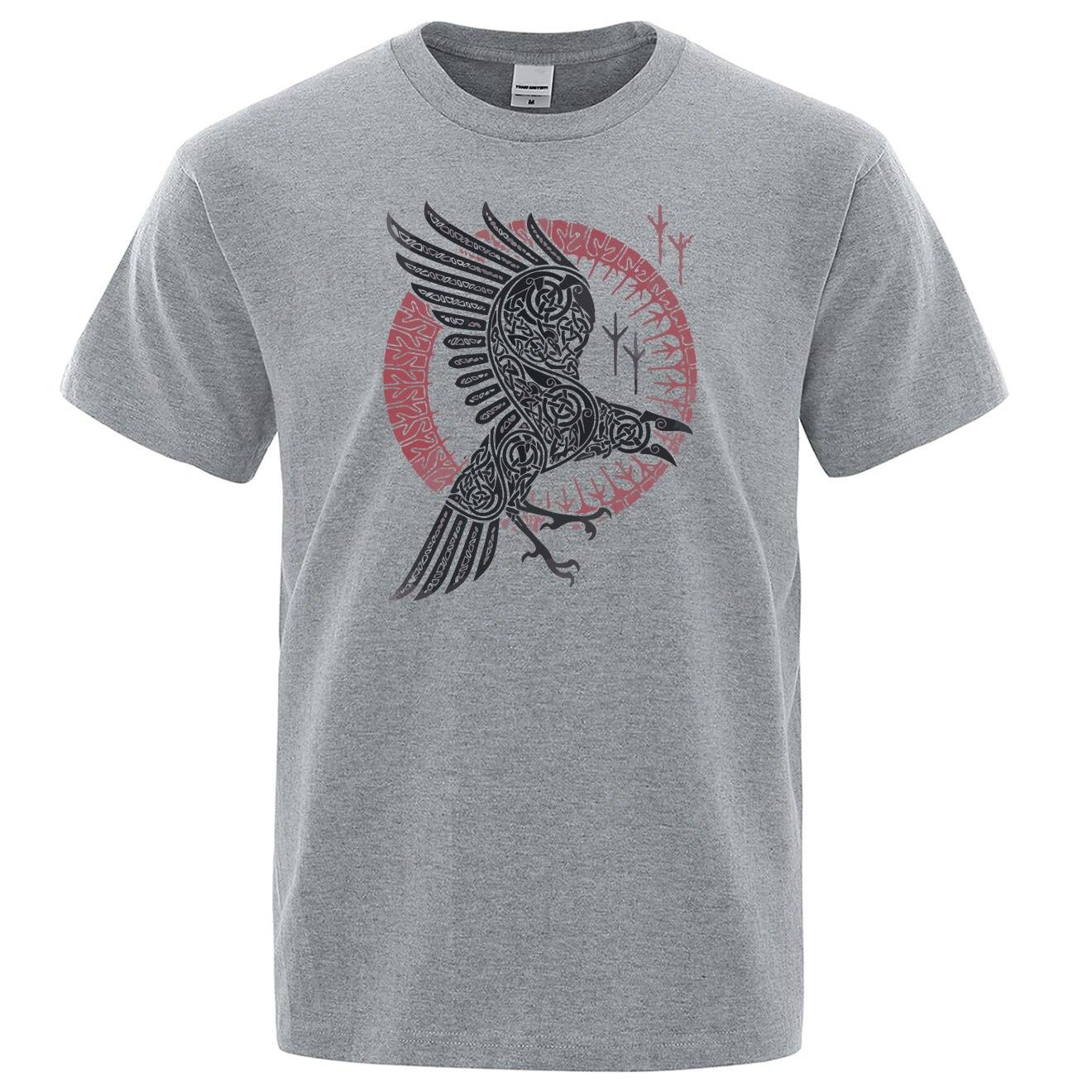 2019 Summer Casual T Shirt Viking Legend Ragnar's Raven Short Sleeve Mens T-shirt Hip Hop Streetwear 100% Cotton Men Tops Tees