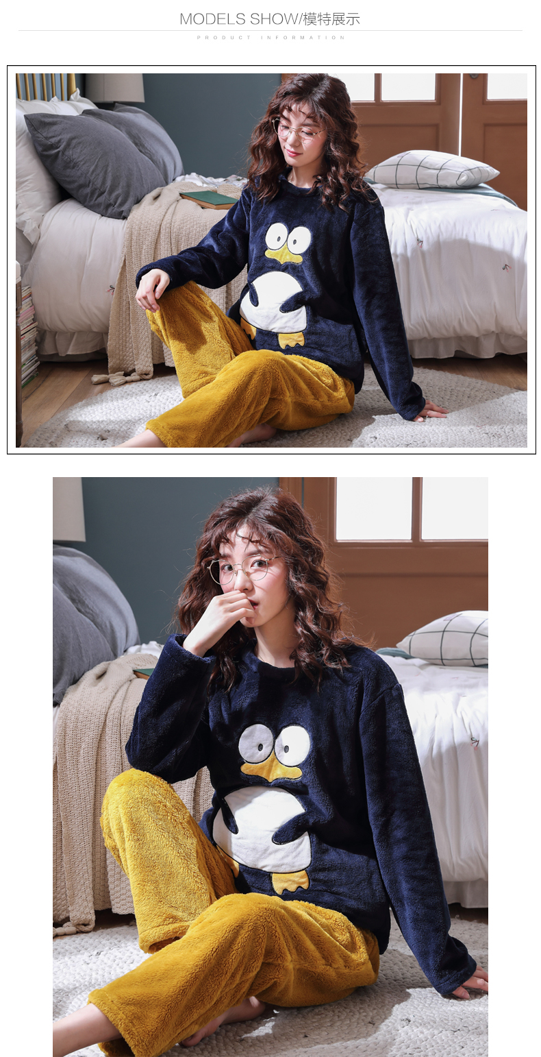 Long Sleeve Warm Flannel Pajamas Winter Women Pajama Sets Print Thicken Sleepwear Pyjamas Plus Size 3XL 4XL 5XL 85kg Nightwear 323