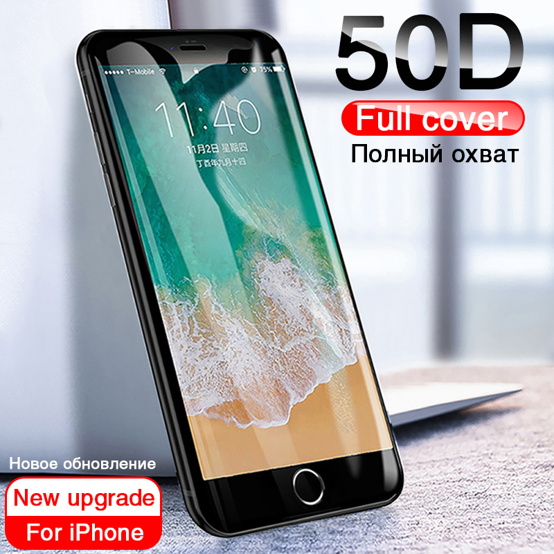 50D Full Cover Tempered Glass For iphone 8 7 Plus 6 6s Glass screen protector On The iphone X XS MAX XR 5 5S SE Protective Glass-in Phone Screen Protectors from Cellphones & Telecommunications