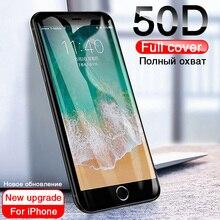 50d 풀 커버 강화 유리 아이폰 8 7 플러스 6 6s 유리 스크린 프로텍터 아이폰 x xs 최대 xr 5 5 s se 보호 유리
