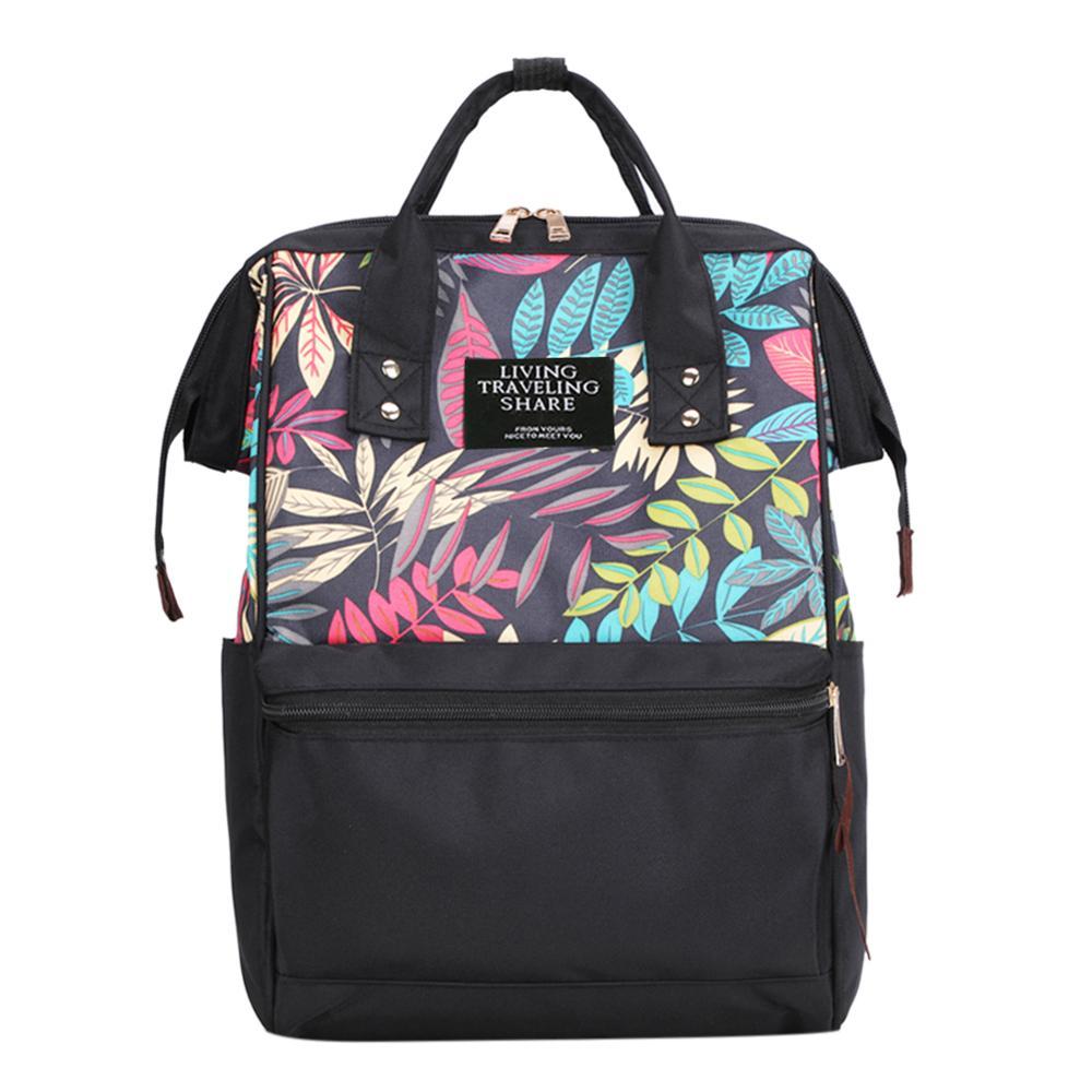 Tropical Plant Print Travel Backpack Mochila Feminina Large Capacity Knapsack Nylon Shoulder Bag For Women Bolsas School Bags