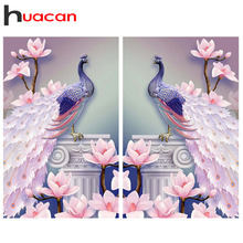 Huacan 5D DIY Diamond Painting Peacock Needlework Diamond Mo