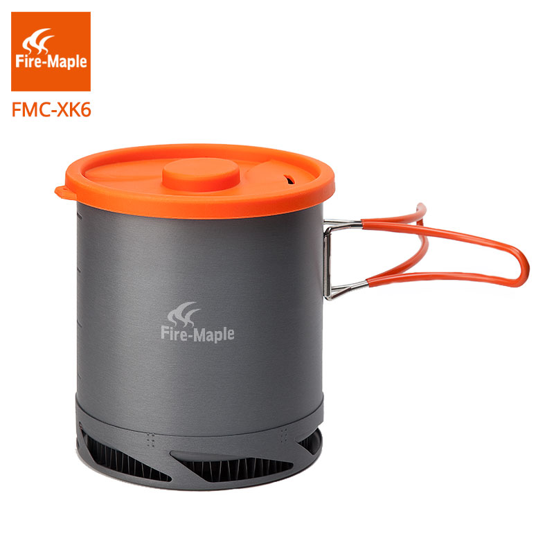 Fire Maple FMC-XK6  Heat Exchanger Pot 1L Foldable Cooking Pots With Mesh Bag Outdoor Camping Cookware