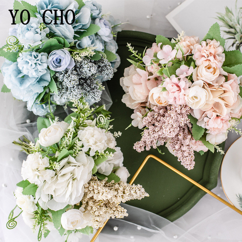 1 Bunch European Artificial Peony Rose Hydrangea Bouquet Silk Fake Flowers Peonies For Home Hotel Decor DIY Wedding Decor Floral