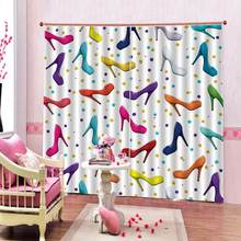 High heels curtains for girls room Bedroom 3D Window Curtain Luxury living room decorate Cortina(China)