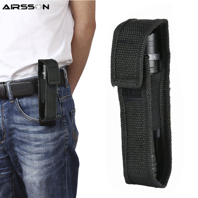 Tactical Molle Flashlight Pouch Protect Holder Portable LED Torch Holster Duty Belt Carry Case Outdoor Camping Hunting Tools