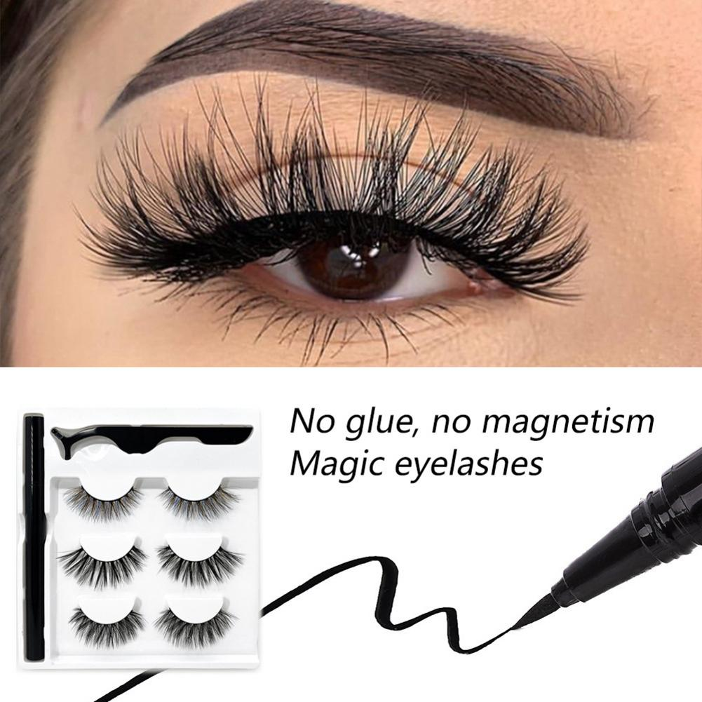 False <font><b>Eyelashes</b></font> <font><b>And</b></font> <font><b>Eyeliner</b></font> Kit- No Glue Non <font><b>Magnetic</b></font> 3 Pairs Waterproof Reusable <font><b>Eyelashes</b></font> With Sticky Liquid <font><b>Eyeliner</b></font> Mascara image