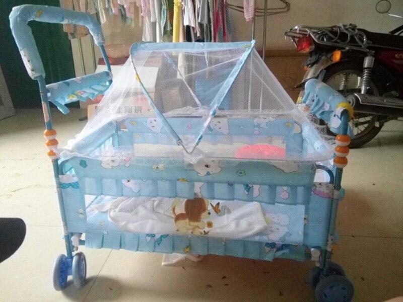 Berceau berceau bébé berceau avec roues main néonatale pousser pliant Portable nouveau-né bébé berceau filet ensemble lit Mobile bébé lit bébé 0 ~ 12 - 4