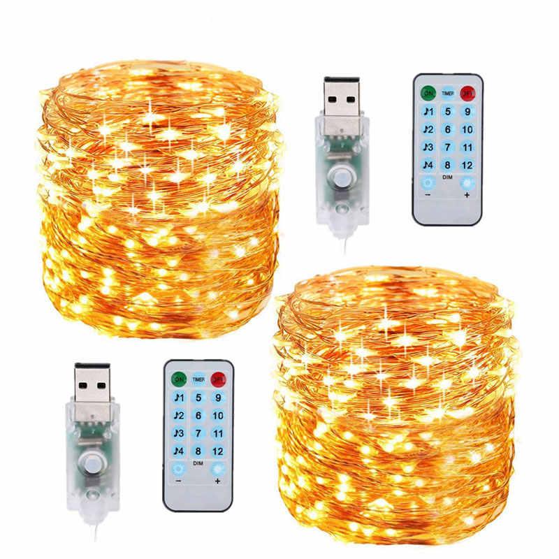 Музыкальная медная проволочная лампа, 3AA батарейный блок, водонепроницаемая осветительная цепь, теплый белый светодиодный светильник, медный провод