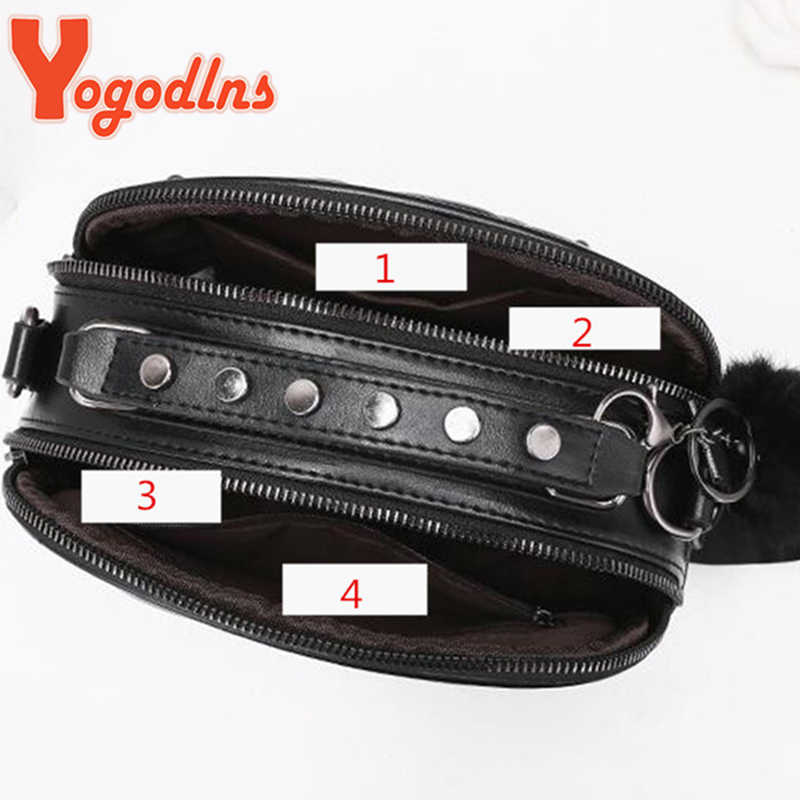 Yogodlns Trendi Rivet Tas Wanita Tas Selempang Wanita Messenger Tas dengan Bola Berbulu Solid Berkualitas Tinggi Pu Kulit Mini Tas
