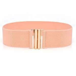 10 colors matching dress fashion ladies wide waist seal elastic stretch belt wild women's gold buckle wide belt decoration