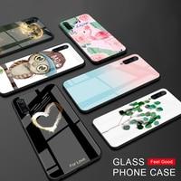 Funda rígida de cristal brillante funda de teléfono para Xiaomi Redmi 7 7A 5 Plus Note 6 7 Pro Pocophone F1 Mi 9t 9 8 Lite A2 A1 flor