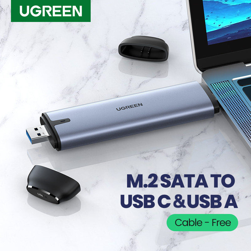 UGREEN SSD Case 6Gbps M 2 B-Key SATA to USB C 3 1 USB 3 0 2-in-1 Adapter Cable-free Converter For M 2 NGFF SSD Hard Drive Case